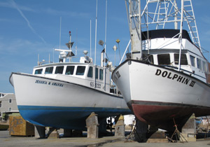 dry docked boats in Barnegat Light
